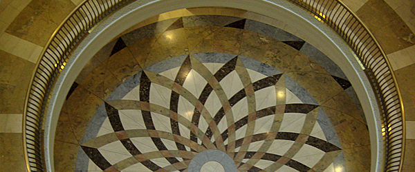 Iowa Judicial Branch building rotunda looking down